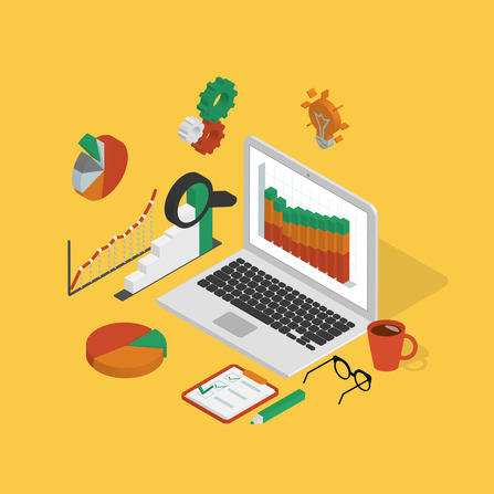 analytics process with laptop on yellow background