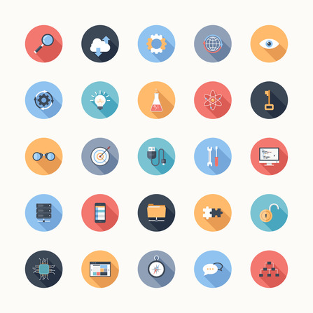 Vector illustration of modern, simple, flat seo and development icons with long shadow. Design elements for mobile and web applications.