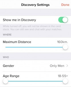 A screenshot of the settings screen on the Tinder app.