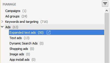Expanded Text Ads - Adwords Editor