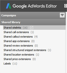 Sitelink Extensions - Adwords Editor