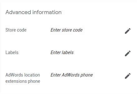 Google My Business Label and AdWords location extensions phone input