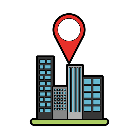 location pin above cityscape buildings