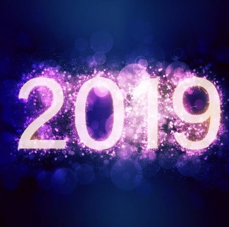 2019 in purple lights