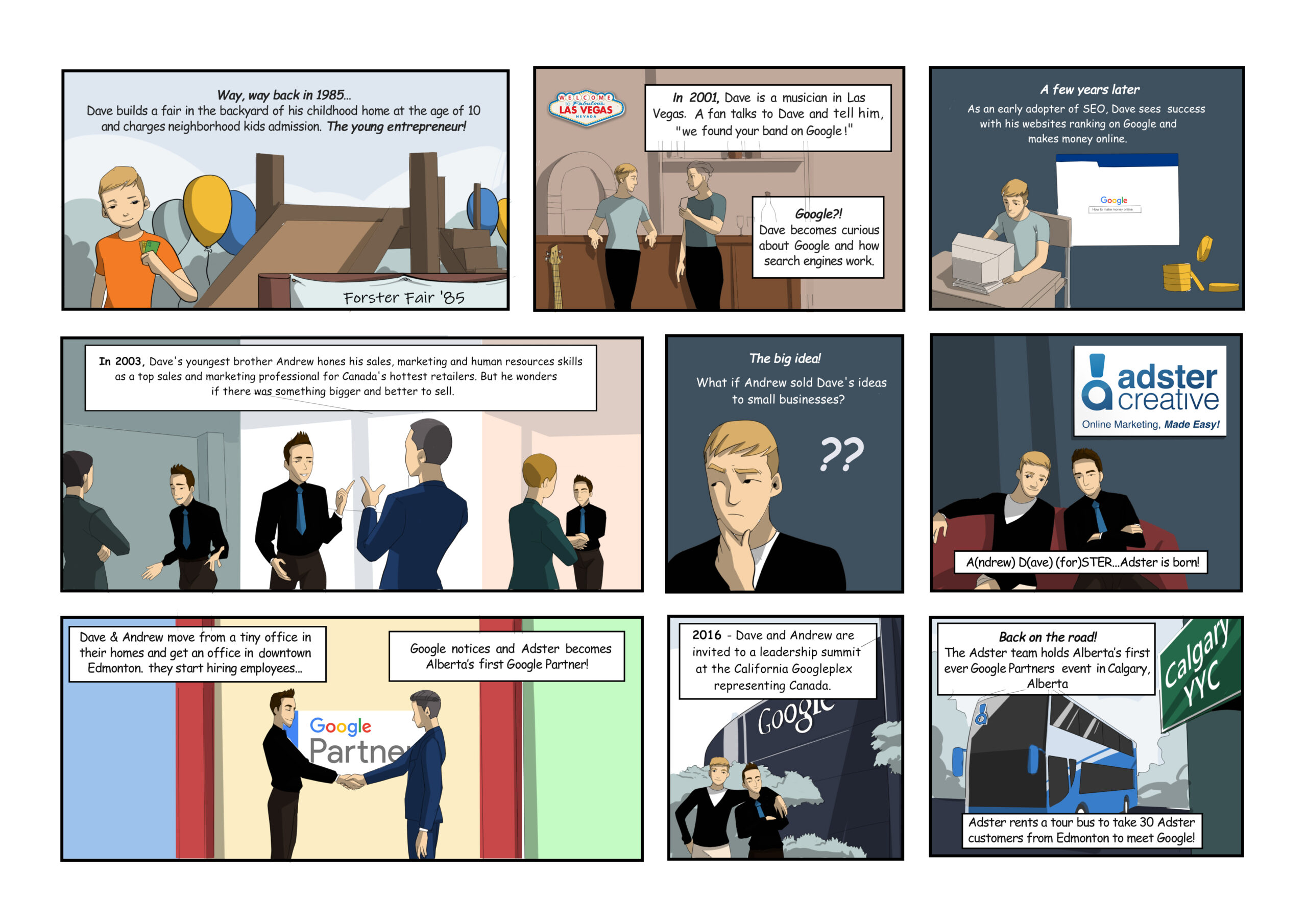 comic page describing the origins of adster creative. nine cells featuring the founding of the agency.
