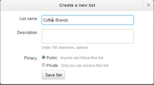 Create a list in Twitter
